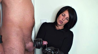 Femdom handjob, Leather gloves, Leather