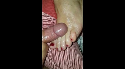 Feet, Toes, Cum on feet, Bbw foot