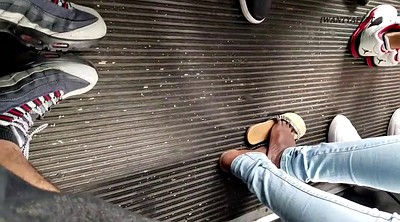 Footing, Candid, Amateur feet, On bus, Black on black, Candid feet