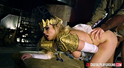 Cosplay, Belt, Belted, Katie, Clothed doggie, Big tits cosplay