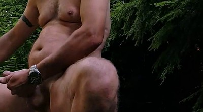 Forest, Big man, Outdoor handjob