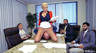 Boss, Blonde, Nina elle, Office milf