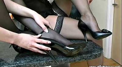 High-heeled shoes, Nylons, Nylon foot, Footing