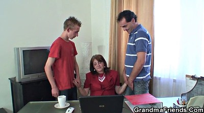 Young wife, Old granny, Mature threesome