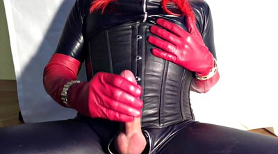Latex, Gloves, Shemale cum, Big boot, Latex masturbation