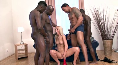 Blacks, Black gangbang, Sausage, Really, Interracial gangbang, Four