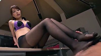 Office, Pantyhose foot, Seduce, Office pantyhose, Black and asian