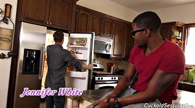 Interracial creampie, Husband, In front of husband