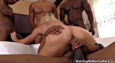 Interracial gangbang, Mom gangbang, My mom, Mom watch