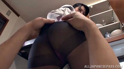 Upskirt, Pantyhose asian, In the kitchen, Asian pantyhose