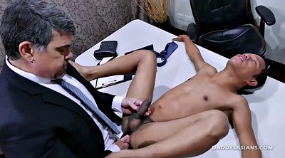 Kiss, Asian office, Asian old, Asian daddy, To, Gay boys