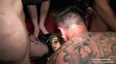 Group, German gangbang, Cum in