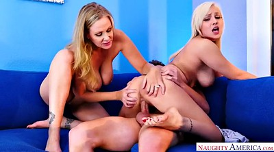 Julia ann, Threesome girlfriend, Lucky guy, Blonde milf