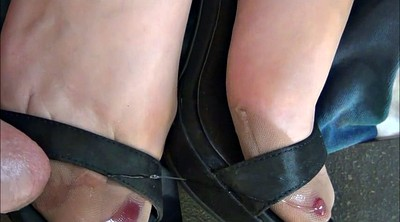 Nylon foot, Nylon feet, Satin, Black stockings, Ebony cum, Cum on feet