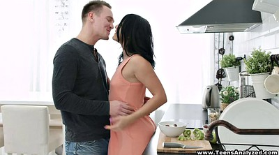 Ass lick, Russian brunette, Kitchen sex, Throated, Sex in kitchen, In the kitchen