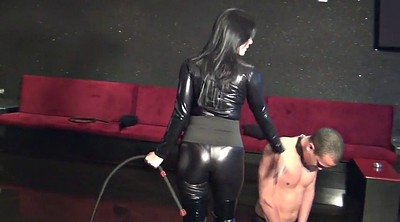 Latex, Femdom whipping, Male slave, Two slave