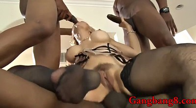 Interracial gangbang, Huge boobs, Ebony boobs, Black anal