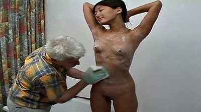 Korean, Asian granny, Shower, Asian old, Old young, Old man girl