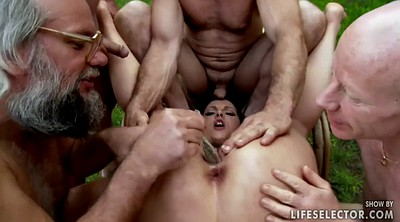 Red, Forest, Outdoor gangbang, Old gangbang, Teen pee, Gangbang young