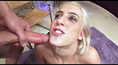 Sloppy, Cum swallow, Blonde deepthroat