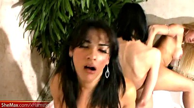 Gangbang, Shemale fuck, Four, Clothes, Shemale orgy