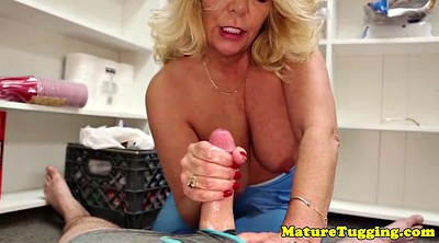 Handjobs, Lucky guy, Busty mature