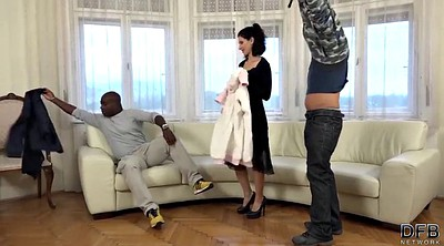 Train, Training, Wife interracial, In front of husband, In front of
