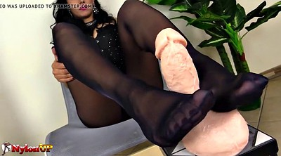 Footjob, Pantyhose foot, Mistress t, Ebony dildo
