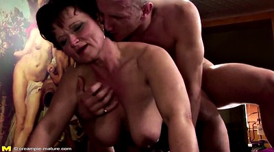 Mature mom, Creampie in pussy, Mature and boy, Boy and mature