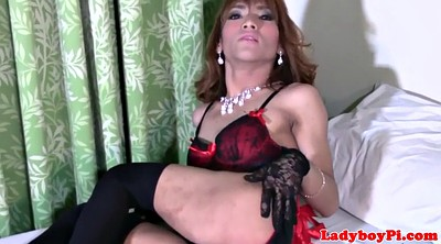 Ladyboy, Gloves, Shemale solo, Asian ladyboy, Glove