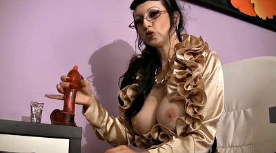 Glasses, Instruction, Sexy lingerie, Instructions, Hairy dildo, Brunette glasses