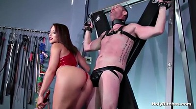 First anal, Red lips, Femdom strapon, Anal bondage, Strapon latex, Mistress t