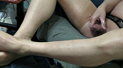 Cum stockings, Lesbian feet, Stockings feet