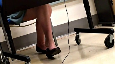 Candid, Shoeplay, Flat, Teacher feet, Dangling