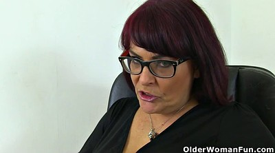 Matures, Granny masturbation, English, Desk
