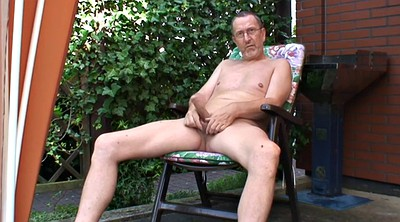 Granny solo, Old cumshot, Outdoor naked, Garden