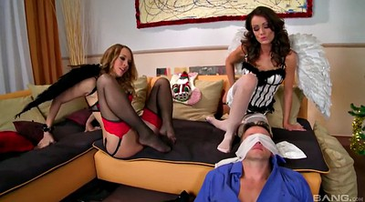 Giant cock, Threesome foot, Stocking foot, Threesome stocking