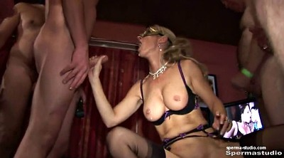Gangbang creampie, German milf, German gangbang creampie, Cum mouth, In mouth