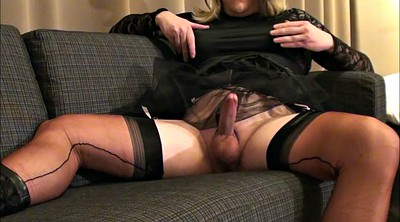 Crossdresser, Satin, Nylon cum, Black nylon