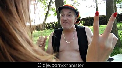 Grandpa, Outdoors, Mouth fuck, Old fuck young