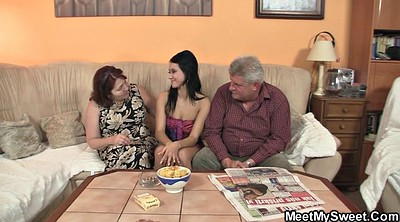 Threesome teen, Old granny, Parent