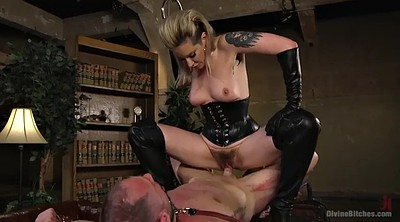 Boots, Mistress, Leather, Mature orgasm, Handjob boy