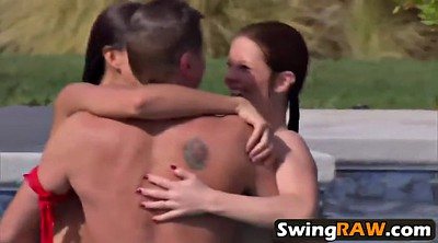 Swinger, Outdoor, Poolside, Interracial swingers, Interracial orgy