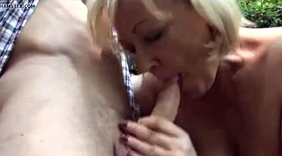 Mature handjob, Forest