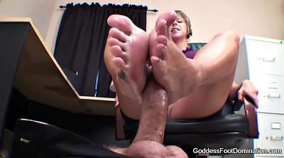 Footjob, Under table, Goddess