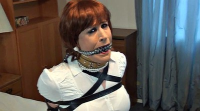 Crossdressing, Sandra, Intruder, Crossdresser bondage, Bound and gagged