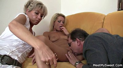 Mature granny, Teen threesome