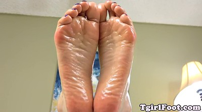 Shemale foot, Oiled, Tgirl, Toes, Shemale oil