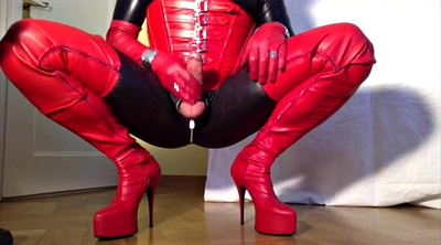 Crossdresser, Boots, Red, Gloves, Leather boots, Crossdressers