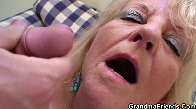 Threesome party, Blonde mature, Grandmother, Old young threesome